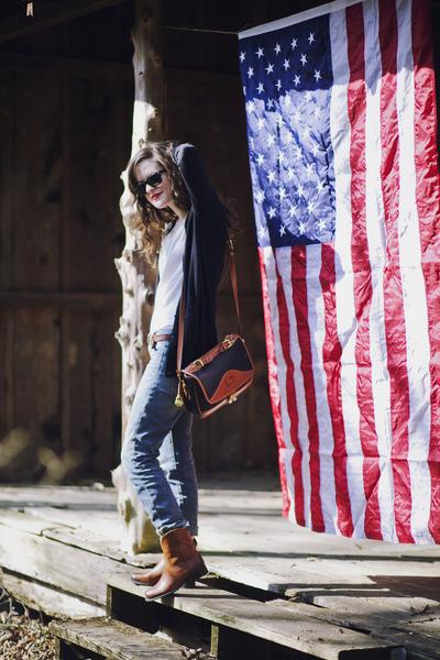 bronze leather Jessica Simpson boots - blue boyfriend Gap jeans