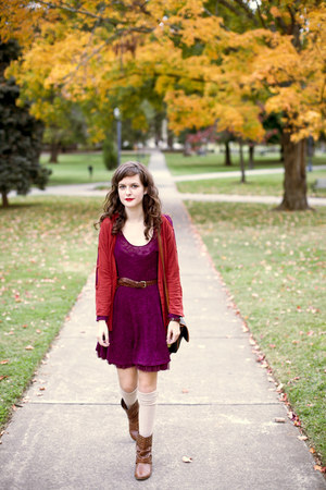 burnt orange draped Anthropologie cardigan - brown studded modcloth boots