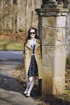 black swan print eShakti dress - camel vintage Esprit coat - white tights