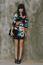 Black-floral-h-m-dress-black-lace-clutch-jason-wu-for-target-purse