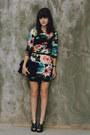 Black-floral-h-m-dress-black-lace-clutch-jason-wu-for-target-purse