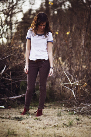 brick red ankle ONeill boots - light brown printed cord free people pants