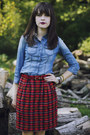 Mcalister-j-crew-boots-denim-jessica-simpson-shirt-plaid-thrifted-skirt