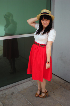 beige straw H&M hat - off white Urban Outfitters shirt - red midi H&M skirt - li