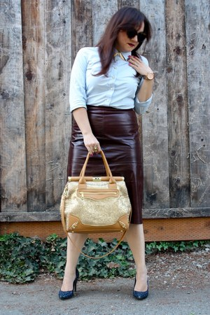 maroon leather midi Gap skirt - light blue button down Old Navy shirt
