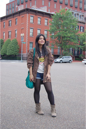 brown Only U - blue Forever 21 shorts - Forever 21 - brown new look boots - beig