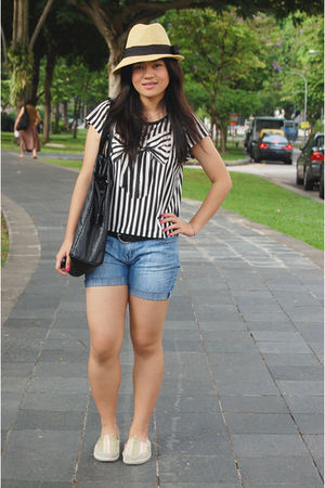 blue DIY shorts - blue Topshop top - beige Forever 21 hat - black Mango