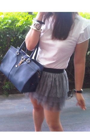 blue leather bag YSL bag - white cotton Dorothy Perkins shirt