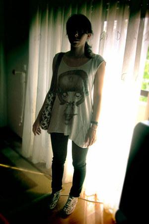 black Zara Trf jeans - white H&M Kids bag - periwinkle Zara Trf t-shirt