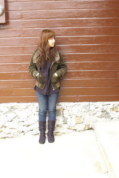 jacket - top - jeans - boots