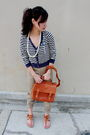 Blue-cardigan-white-necklace-beige-pants-brown-purse-brown-shoes