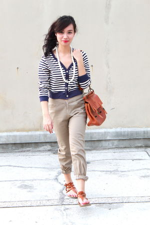 brown shoes - brown bag - beige pants - white pearl necklace - blue cardigan