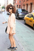 black Wanted boots - peach Forever 21 dress - beige vintage vest