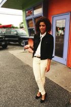 black American Apparel jacket - white American Apparel top - yellow American App