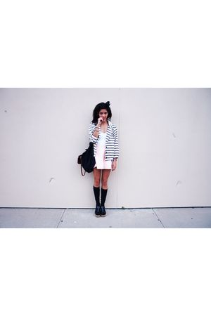 blue American Apparel jacket - pink American Apparel - black vintagethrift shoes
