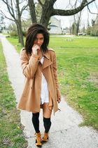 brown thrifted Stefanel coat - gold seude Jeffrey Campbell shoes