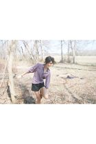 purple Roevelle blouse - black American Apparel shorts - brown Marais USA Chelse