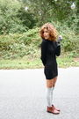 Black-aa-dress-silver-aa-socks-brown-marais-usa-shoes