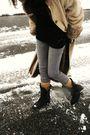 Beige-thirfted-coat-black-american-apparel-dress-silver-levis-pants-black-