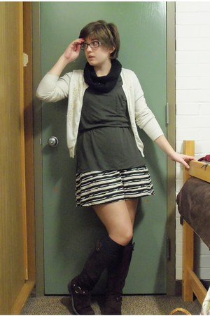 brown Gap Outlet boots - black striped dress - forest green Target shirt - black