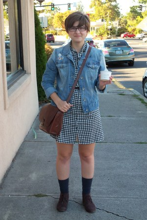 brown Maurices boots - black checked Old Navy dress - blue denim H&M jacket