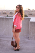 Forever 21 blazer - H&M purse - Forever 21 skirt - cotton on blouse