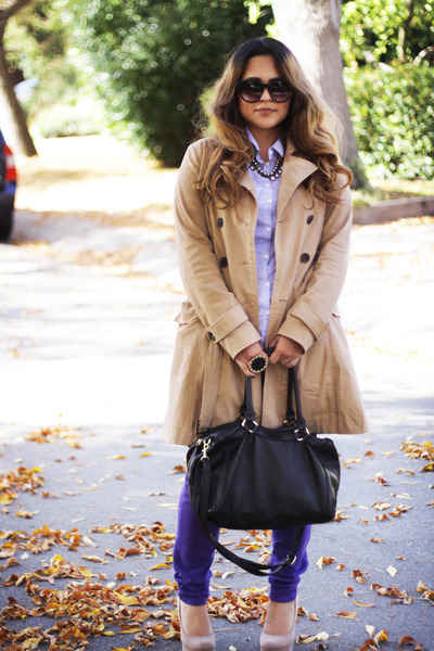 tan Forever 21 coat - neutral Forever 21 shoes - H&M bag - Nordstrom sunglasses