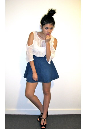 navy denim Stylenanda skirt - black Dotti heels