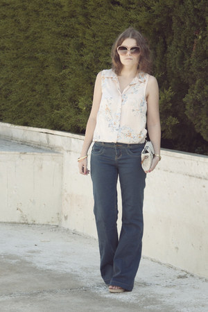 navy Zara jeans - eggshell Dayaday bag - light pink H&M blouse