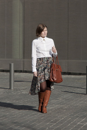 aquamarine Zara skirt - white Bershka shirt - tawny Stradivarius bag
