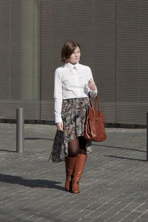 aquamarine Zara skirt - white Bershka shirt - tawny Stradivarius bag