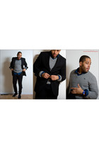 blue Uniqlo shirt - heather gray abercrombie and fitch sweater - black Club Mona