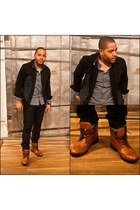 black fifth avenue shoe repair jacket - navy JCrew jeans - tawny Urban Outfitter