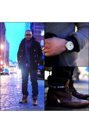 tawny brogues Urban Outfitters boots - navy Gap coat - navy Naked and Famous jea