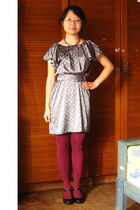 heather gray flea market dress - magenta flea market tights - deep purple From I