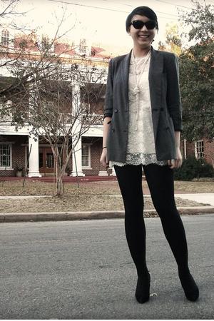 gray thrifted blazer - f21 dress - Ebay necklace