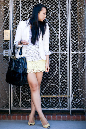 light yellow lace Zara skirt - ivory button up Equipment blouse