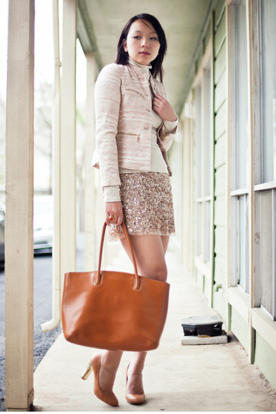 gold sequined Zara skirt - cream tweed Zara jacket