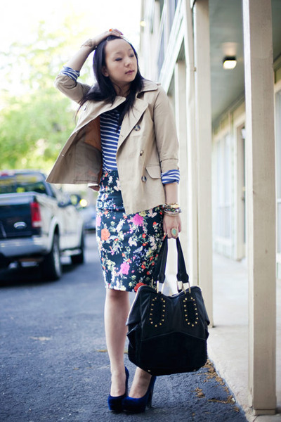 black floral print Zara skirt - tan trench c Forever 21 jacket