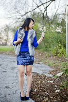 sky blue sequined Forever 21 skirt - blue chunky knit Forever 21 sweater