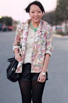 pink floral vintage blazer - black leather Forever 21 shorts - white lace Foreve