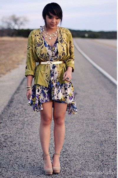 blue floral asos dress - olive green satin vintage jacket - beige platform Forev
