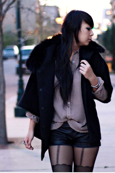 black fur Ebay coat - black leather Forever 21 shorts