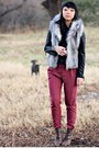 Ruby-red-urban-outfitters-pants-black-forever-21-jacket-brown-halogen-boots-