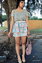 blue Urban Outfitters skirt - gray Forever 21 shirt