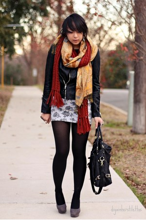 black Forever 21 jacket - heather gray Wetseal dress - bronze Forever 21 scarf -