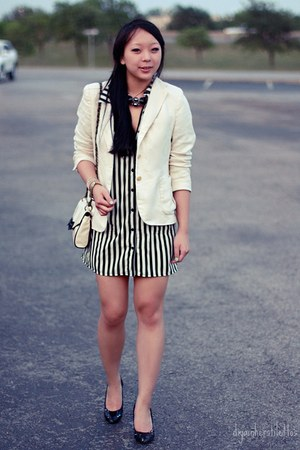 black striped Urban Outfitters dress - white thrifted Ralph Lauren blazer - ivor