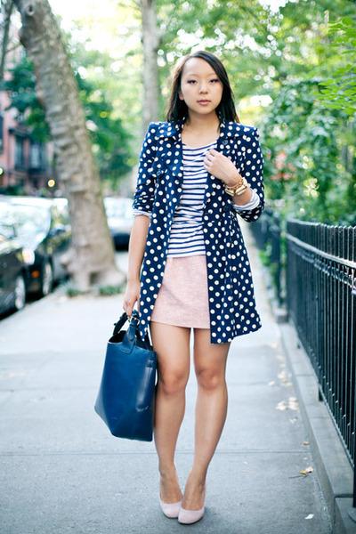 white polka dot Forever 21 jacket - navy striped Zara shirt