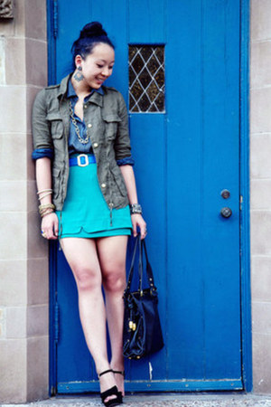 turquoise blue layered asos skirt - army green military Forever 21 jacket