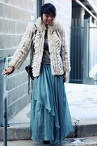 fur vintage coat - turquoise blue chiffonfon asos skirt